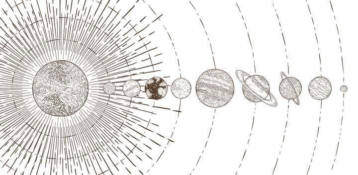 手绘简笔画插画风格排列在一条线上的太阳系九大行星结构图天文科普图片免抠素材