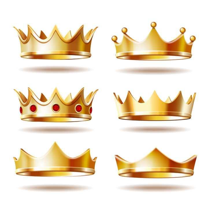 6款黄金皇冠国王王冠图片免抠素材