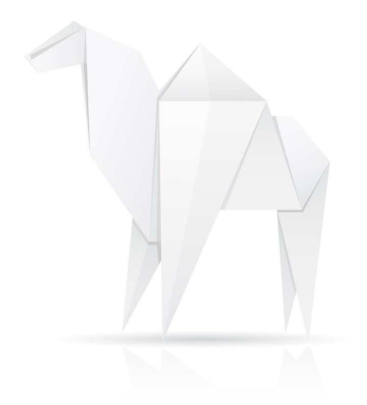 用白纸折叠的骆驼折纸玩具童年回忆系列免抠矢量图片素材