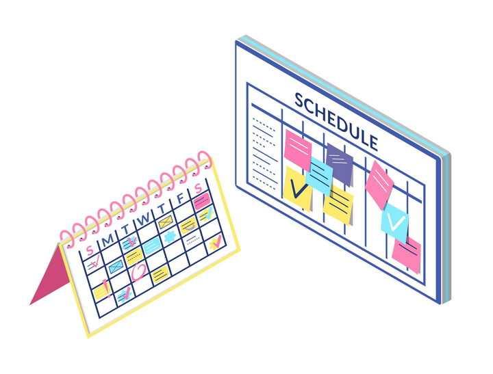 手绘风格日历台历和记事板免抠图片素材