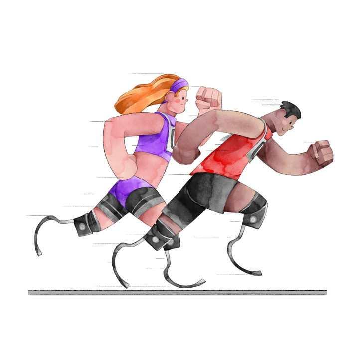 卡通插画插图风格残疾人运动会跑步运动员免抠矢量图片素材