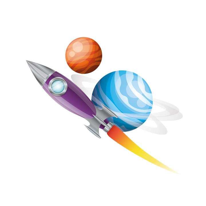 在宇宙飞行的可爱卡通小火箭免抠矢量图片素材