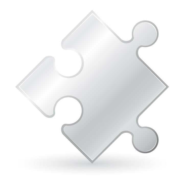 银色拼图形状免抠矢量图片素材