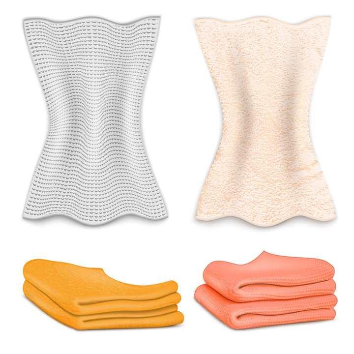 4款折叠的抹布毛巾图片免抠素材