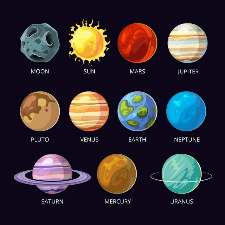 15款太阳系八大行星月球冥王星天文科普图片免抠素材
