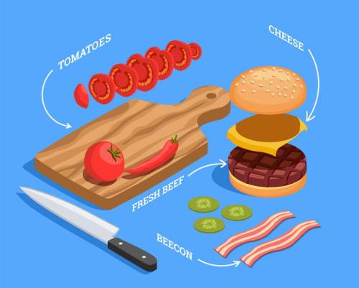 2.5D风格砧板汉堡西红柿等切菜厨房用品图片免抠素材