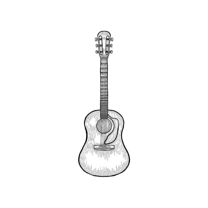 手绘素描风格吉他乐器图片免抠素材