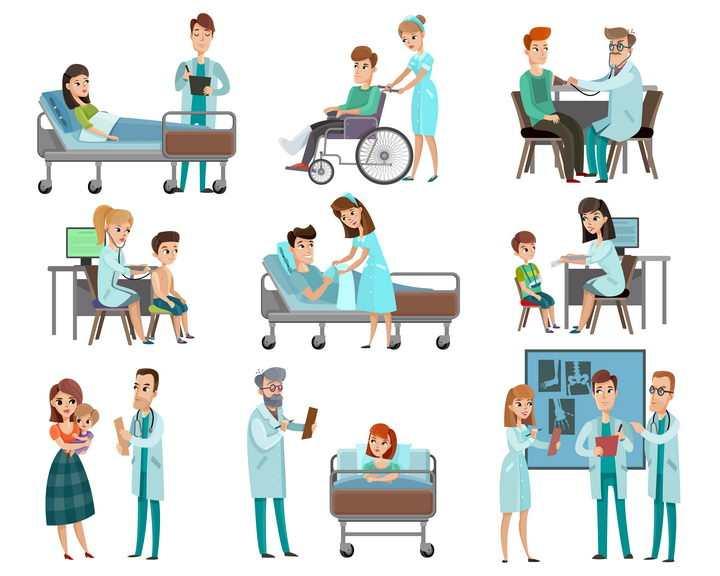 9款卡通风格医生和病人图片免抠素材