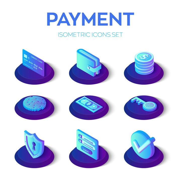 9款2.5D紫色渐变色风格银行卡信用卡钱包美元指纹解锁等网络支付安全图标图片免抠矢量素材 IT科技-第1张