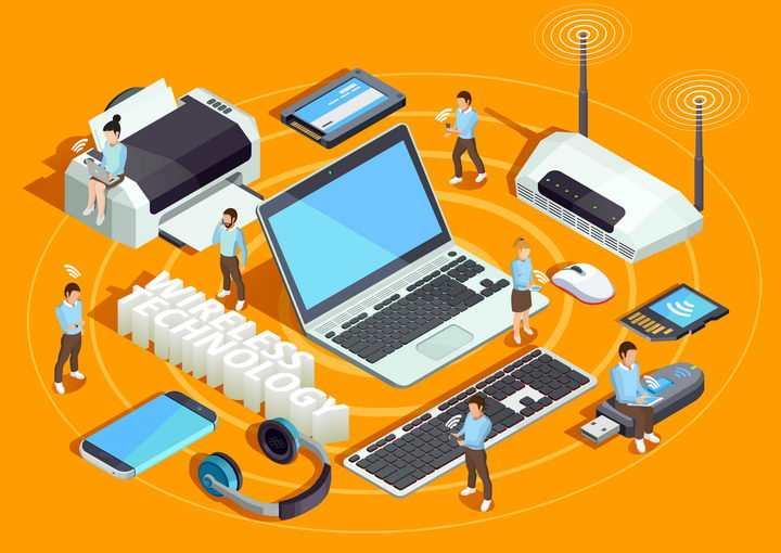 2.5D风格路由器通过WiFi连接笔记本电脑打印机等IT设备免抠矢量图片素材