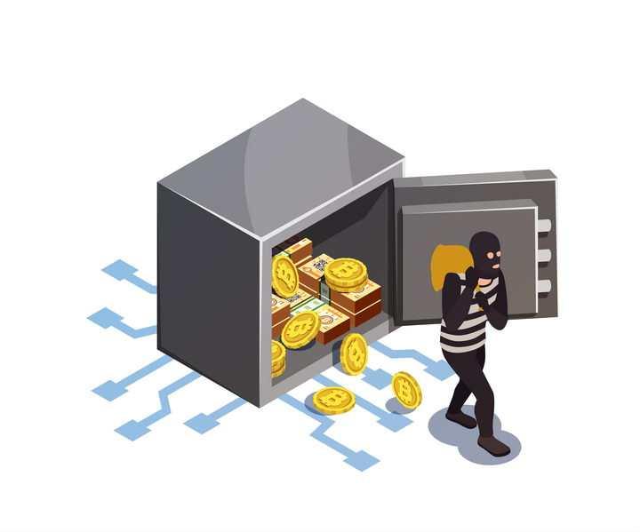 2.5D风格正在从保险柜中偷走比特币的黑客图片免抠素材