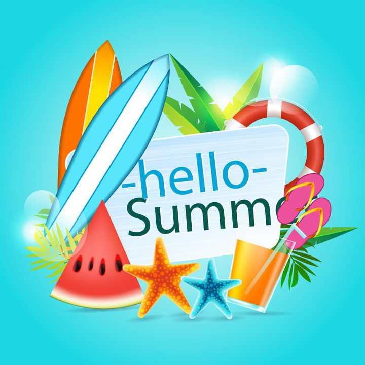 唯美风格的夏日热带海岛旅行标题框装饰冲浪板西瓜海星等免抠矢量图片素材