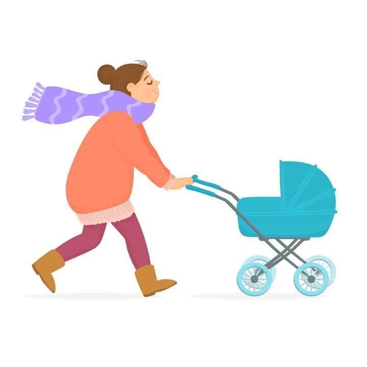 推着婴儿车的年轻卡通妈妈图片免抠矢量素材