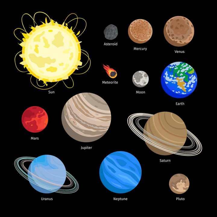 太阳系八大行星天文科普配图图片免抠素材