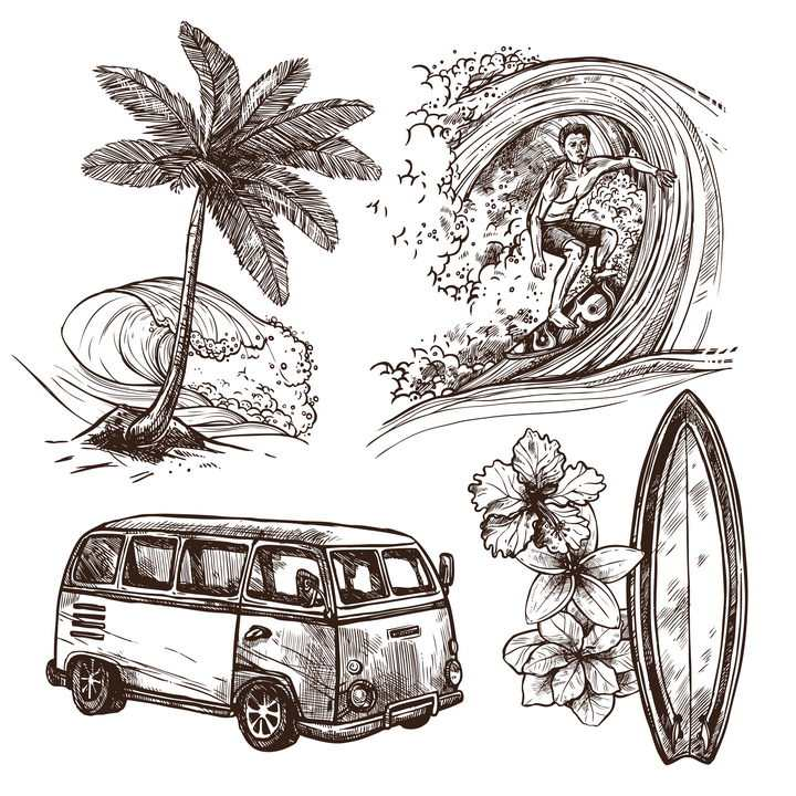 手绘插画风格热带海岛旅游冲浪图片免抠素材