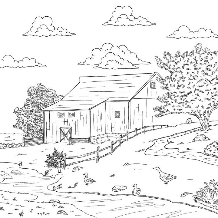 黑色线条涂鸦手绘素描风格农村乡村风景简笔画免抠矢量图片素材 简笔画-第1张