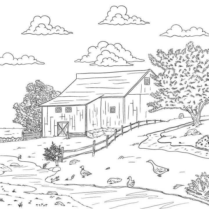 黑色线条涂鸦手绘素描风格农村乡村风景简笔画免抠矢量图片素材