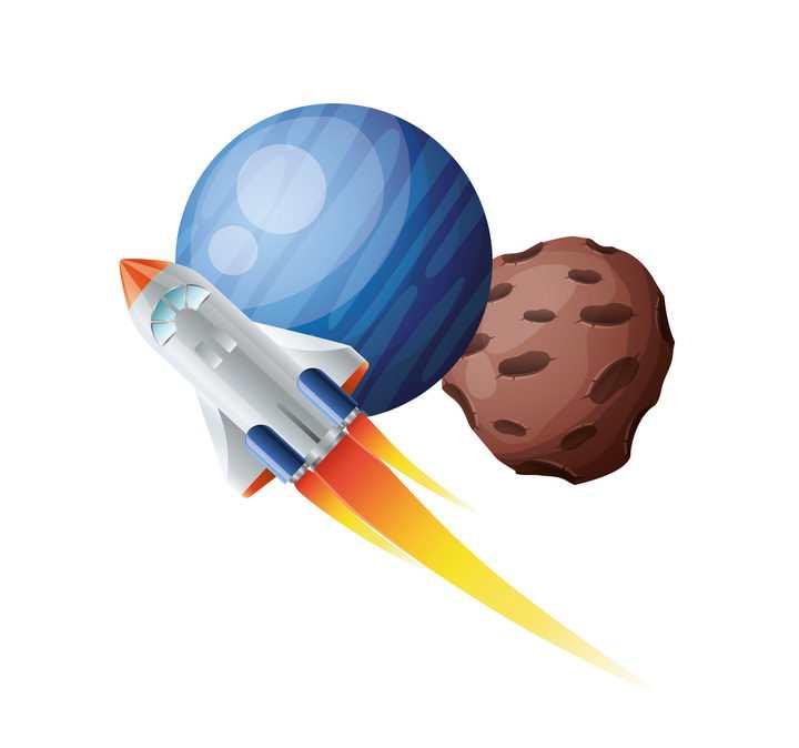创意在外太空其他星球上飞行的卡通小火箭航天飞机免抠矢量图片素材