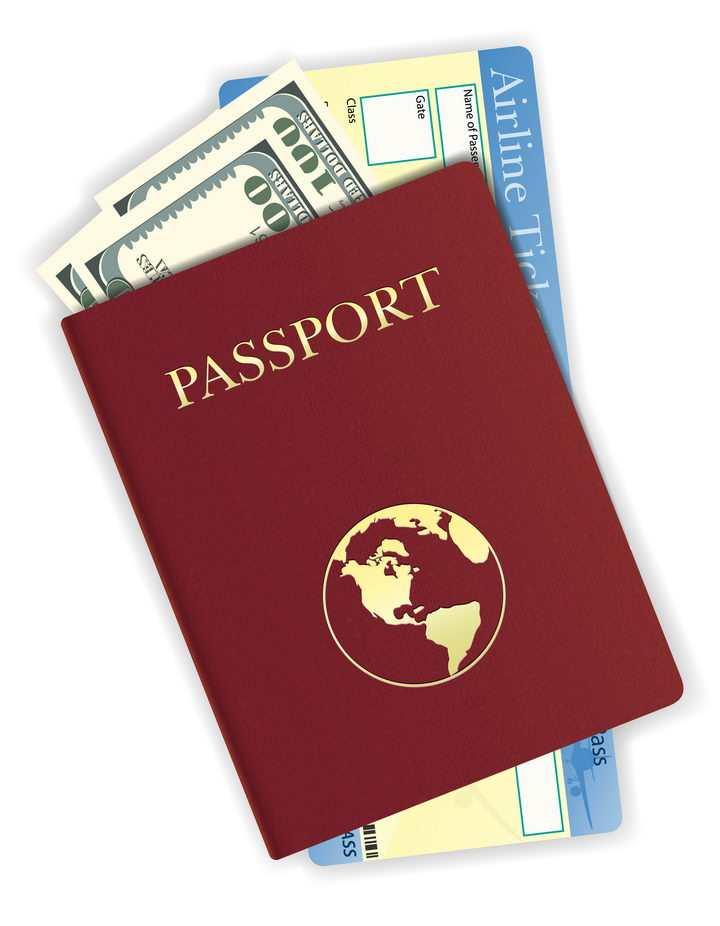 夹着飞机票和美元的护照旅行用品免抠矢量图片素材
