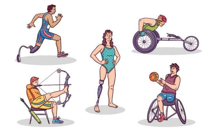 5种不同的残疾人运动会项目跑步轮椅射箭和篮球手绘插画免抠矢量图片素材