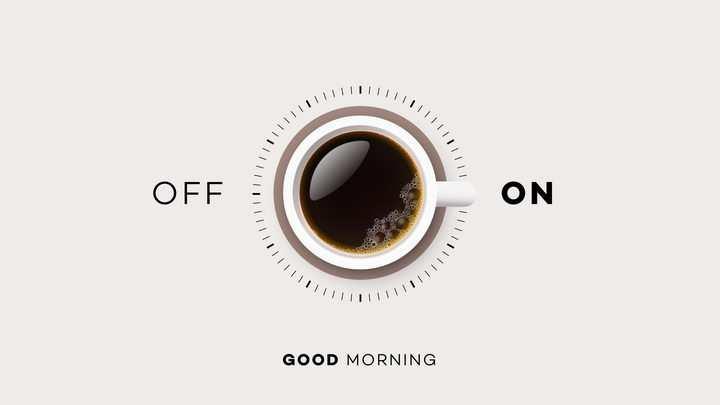 创意早上好俯视视角咖啡杯组成的开关按钮图片免抠素材