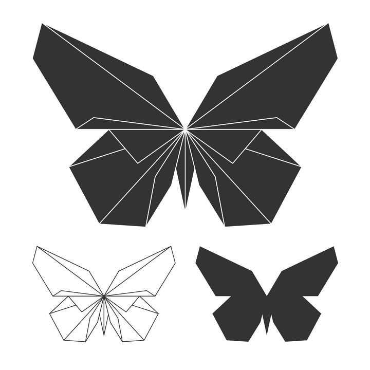 简洁黑白色折纸风格蝴蝶图片免抠素材