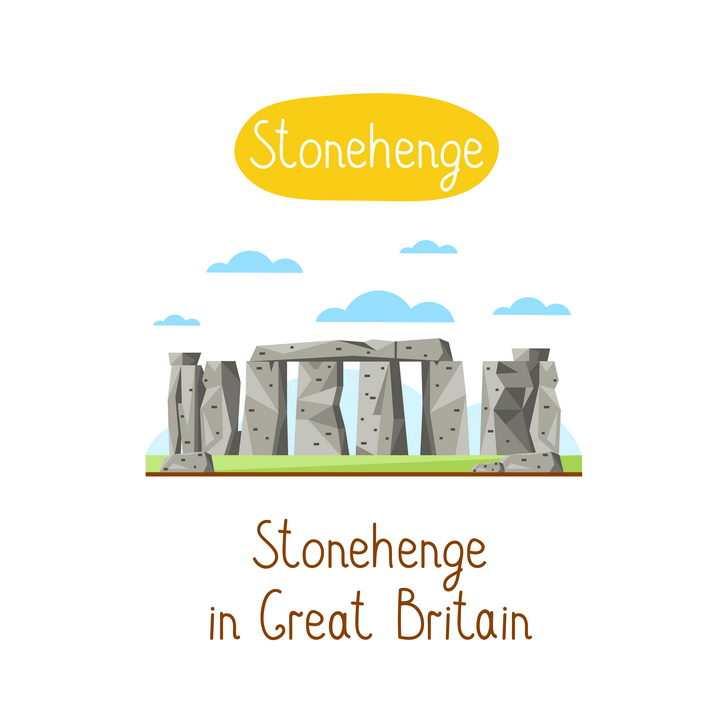 扁平化风格巨石阵英国地标建筑旅游图片免抠矢量素材