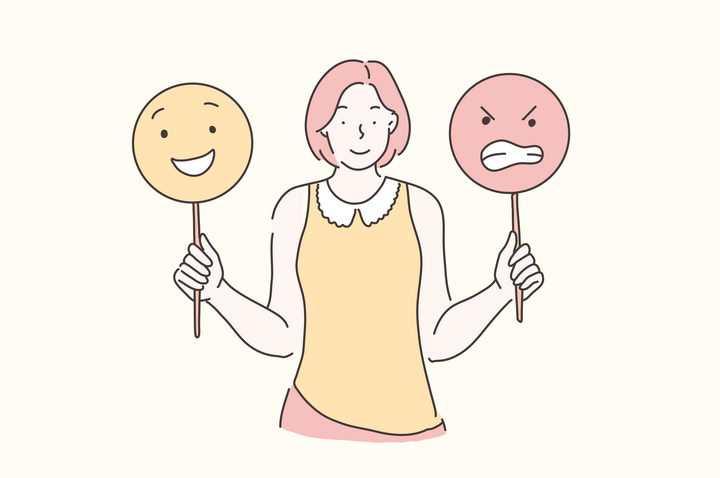手绘彩色上色线条漫画风格精神分裂症患者高兴和愤怒表情图片免抠素材