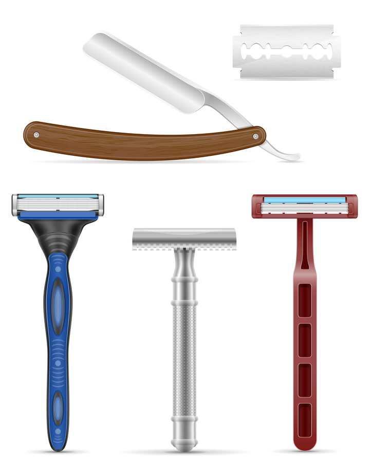 各种剃须刀和刮胡刀刀片免抠矢量图片素材