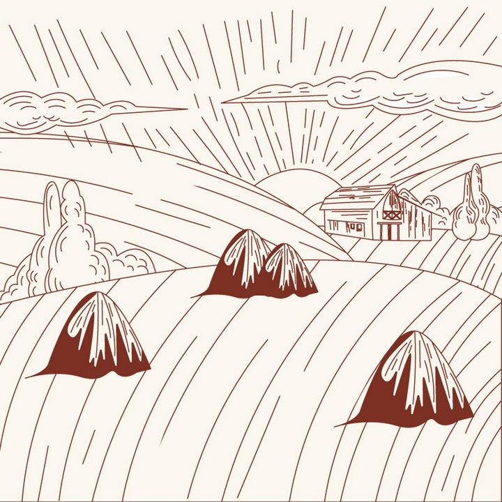 简约棕色线条农村乡村风景简笔画免抠矢量图片素材 简笔画-第1张