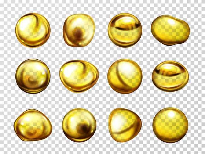 12款金黄色油滴液滴效果图片免抠素材
