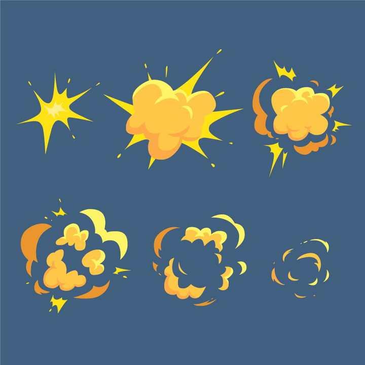 6款黄色的漫画风格爆炸效果图片免抠素材
