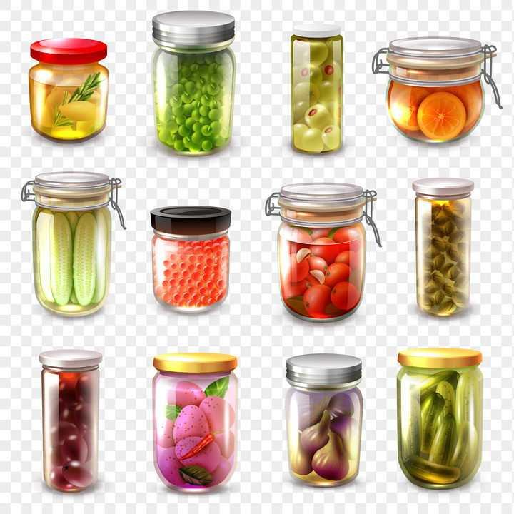 12款各种装在玻璃罐中的腌制蔬菜美食图片免抠素材
