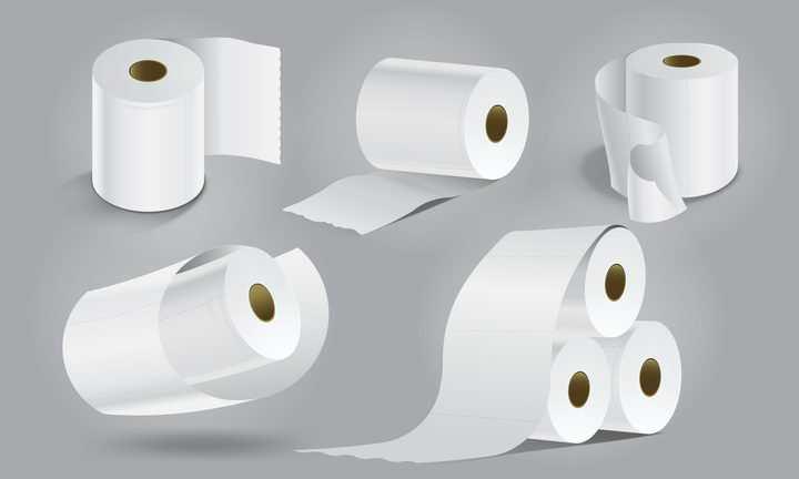 5种厕纸卫生纸卷筒纸图片免抠素材