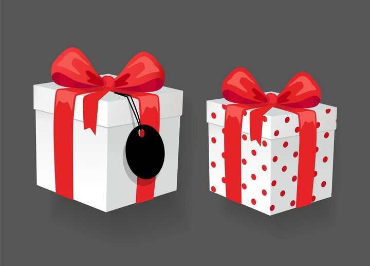 两款红色蝴蝶结包装带和白色礼物盒免抠图片素材