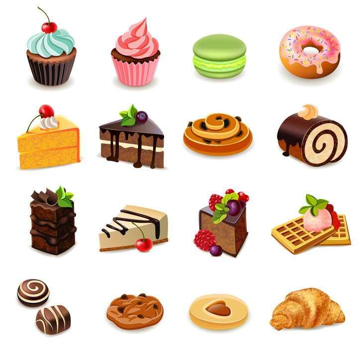 16款不同品种的蛋糕甜甜圈冰淇淋华夫饼面包西餐美食图片免抠素材