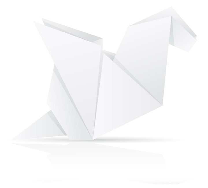 用白纸折叠的小鸟折纸玩具童年回忆系列免抠矢量图片素材