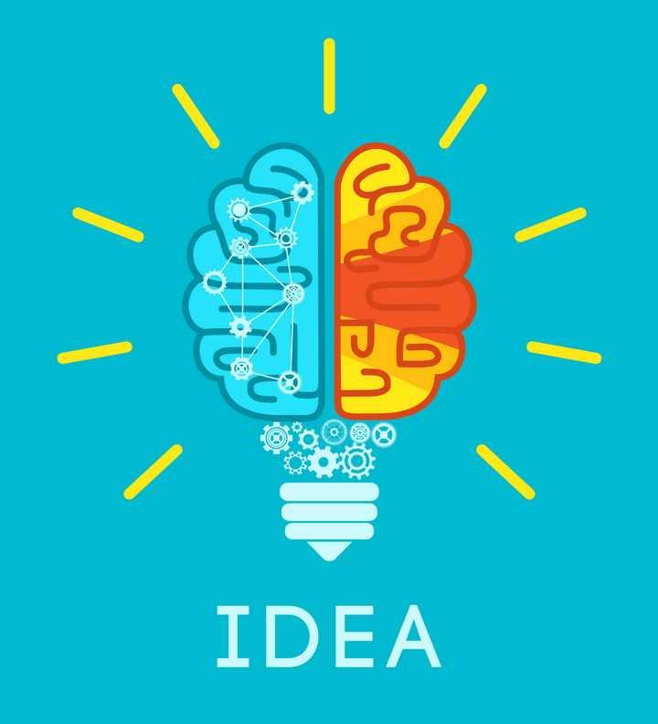 创意大脑图案组成的抽象电灯泡免抠矢量图片素材