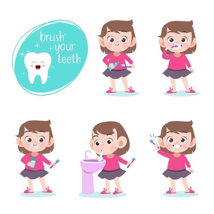 保护牙齿早上起来刷牙的卡通小女孩图片免抠素材