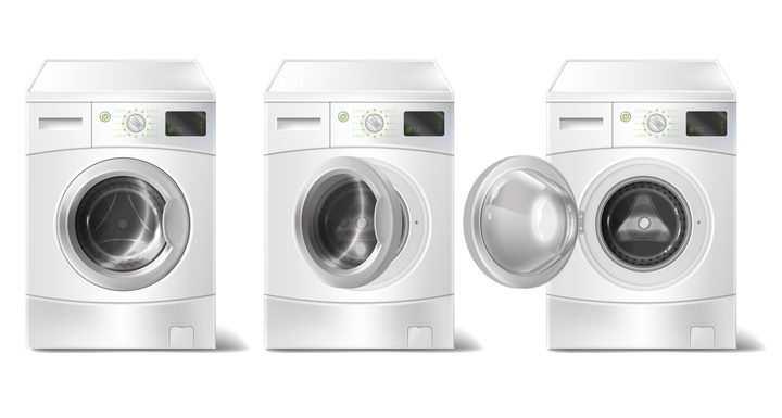 3款白色的滚筒洗衣机图片免抠素材