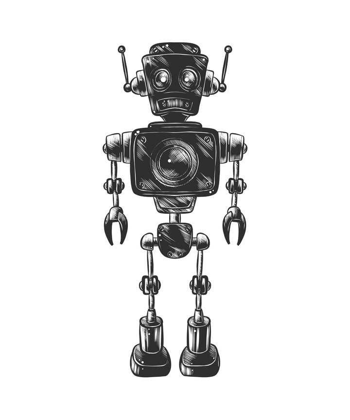黑色手绘风格机器人插图免抠矢量图片素材