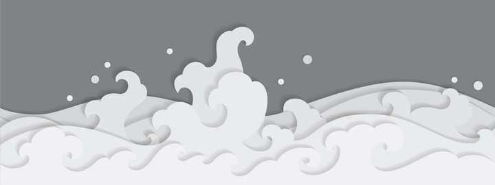 剪纸叠加风格的白色波浪图案图片免抠素材