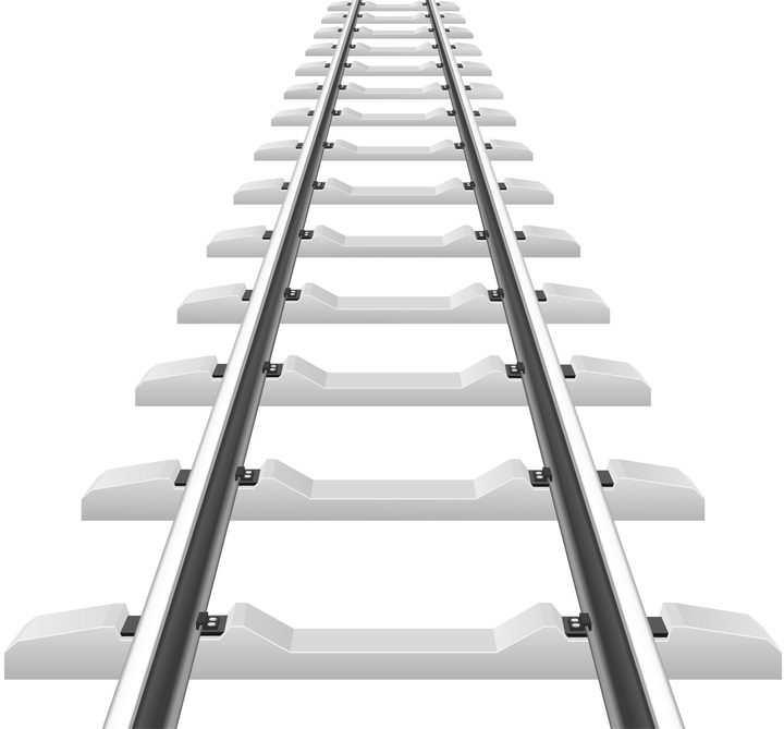 银色的铁路火车高铁铁轨轨道免抠矢量图片素材