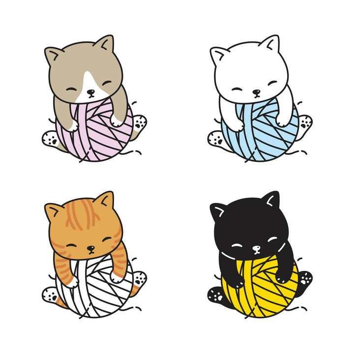4款可爱卡通猫咪正在玩毛线球免抠图片素材