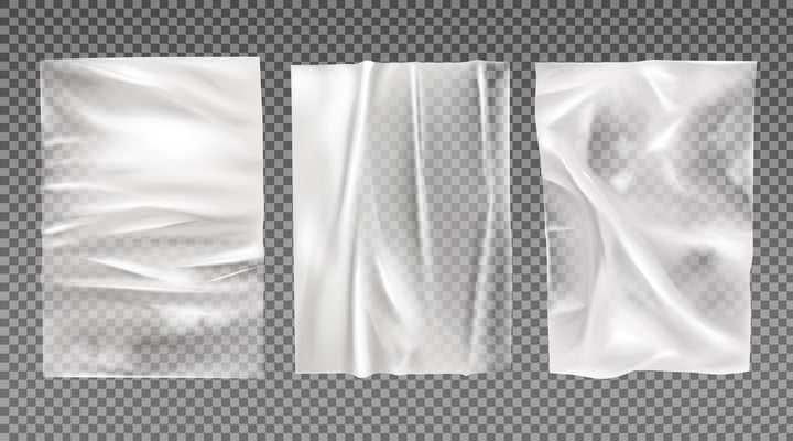 三张半透明塑料纸塑料袋图片免抠素材
