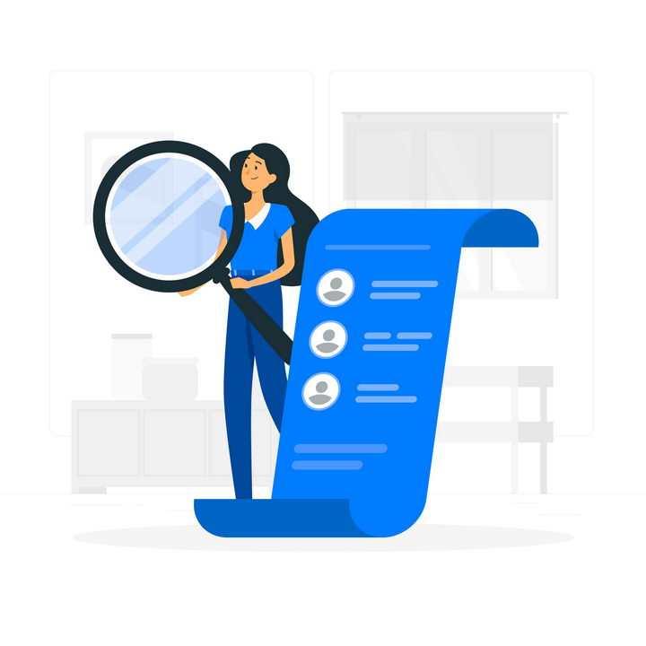 扁平插画风格拿着放大镜审视数据的职场女性图片免抠素材