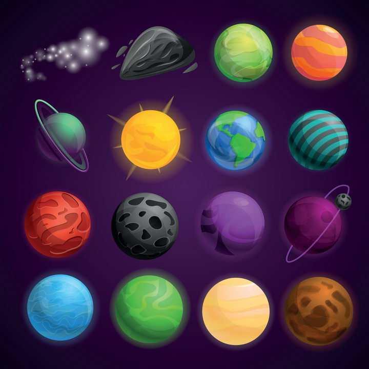16款太阳火星地球太阳系天体星球天文宇宙科普图片免抠素材