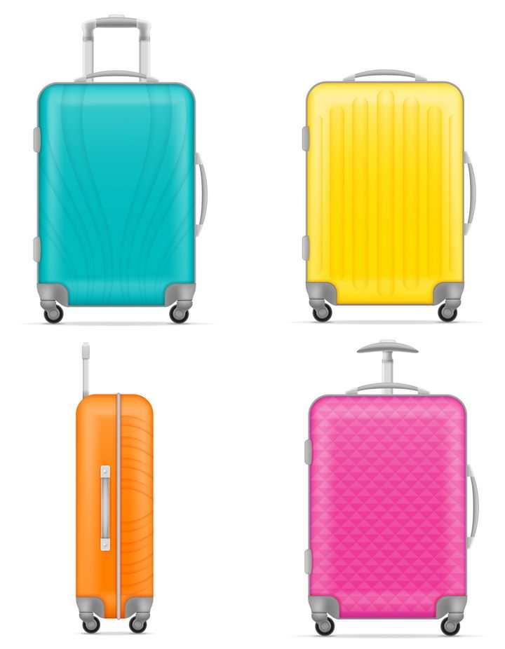 四种不同颜色的带滚轮的旅行箱箱包免抠矢量图片素材