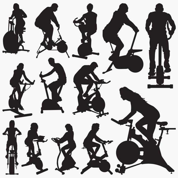 健身房动感单车人物剪影图片免抠素材