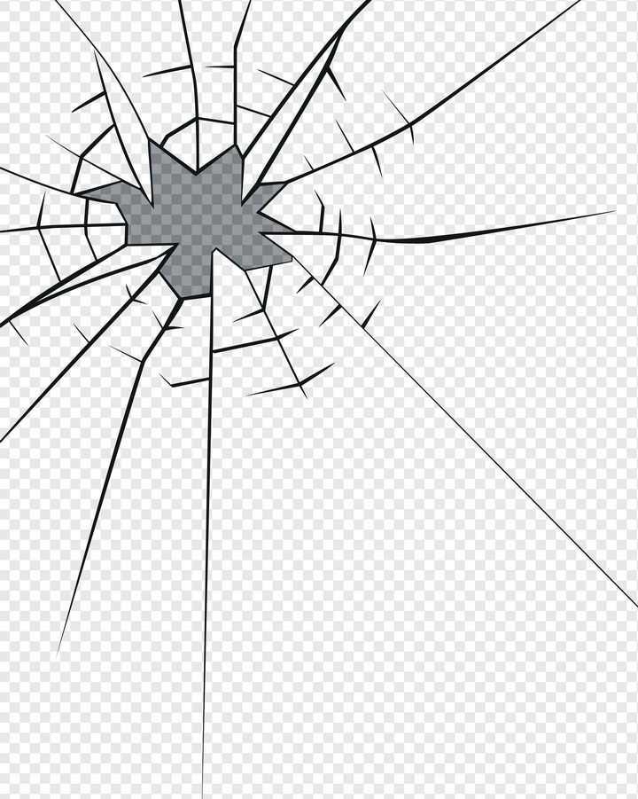 黑色线条风格破碎玻璃破裂裂纹效果图片免抠素材